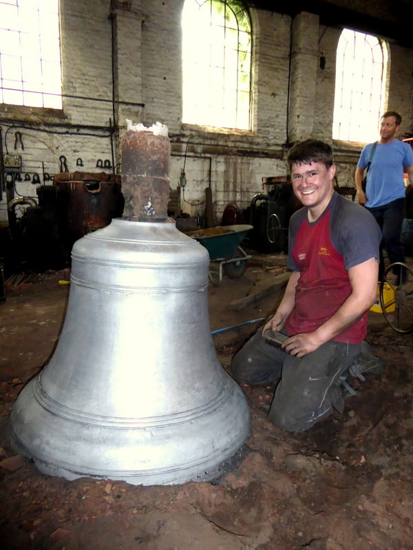 Anthony Stone is justifiably proud of the casting - photo taken with the bell straight from the mould without any cleaning up.