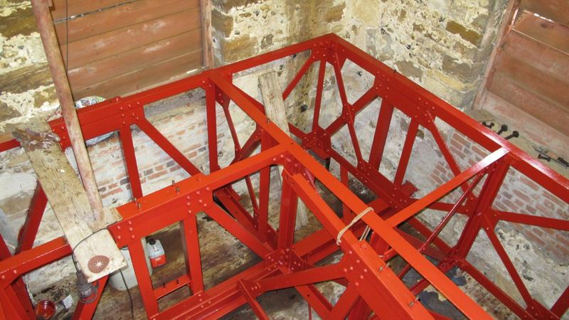 A newly painted bellframe while the bells are at Loughborough during a bell restoration scheme.