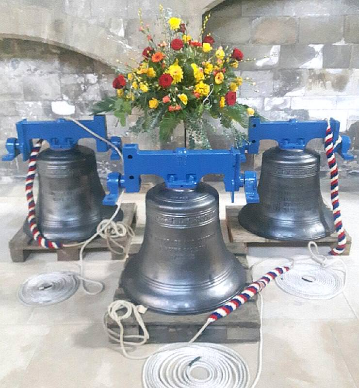 Beverley's three new bells at their dedication service. (Photo: John Atkinson.)