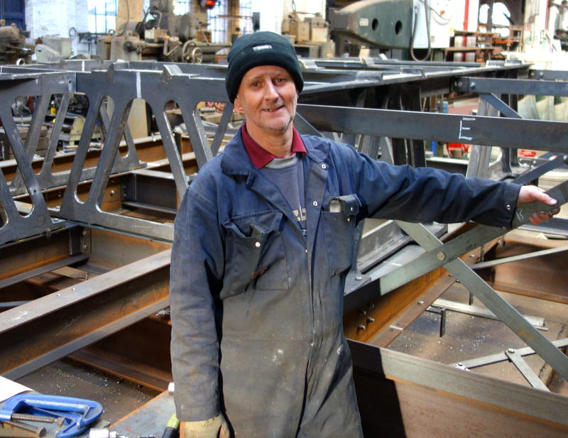 Colin's been building bell frames at Taylors for 44 years now - a master crafsman.
