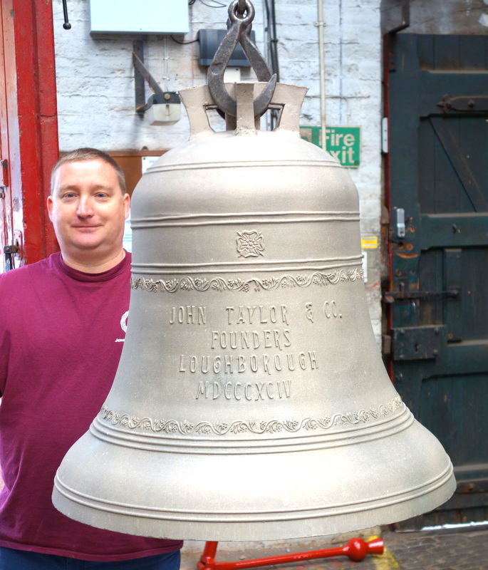 Works Director Paul Mason unloads one of the cleaned bells.