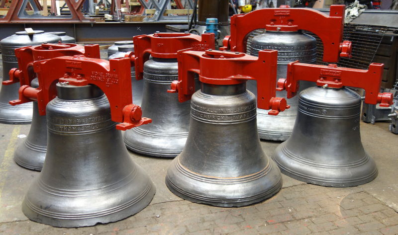 Brinkworth bells ready for dispatch after much welding.