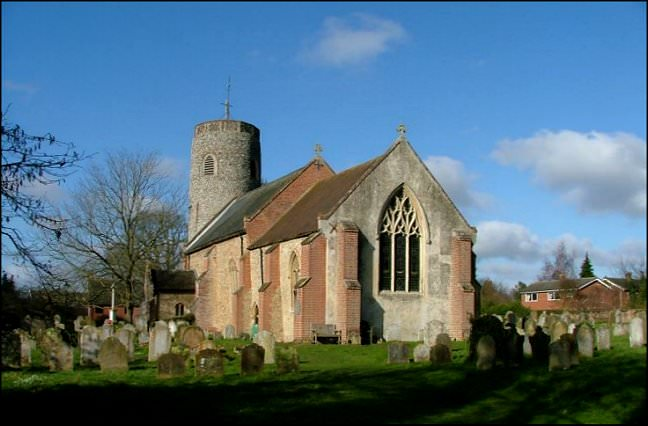 Brooke Parish Church with one of Norfolk's round towers.