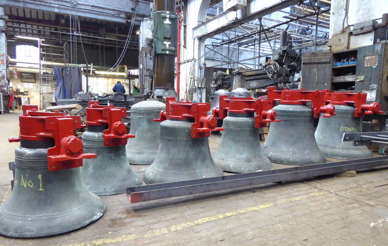 The bells fitted with new canon retaining headstocks.