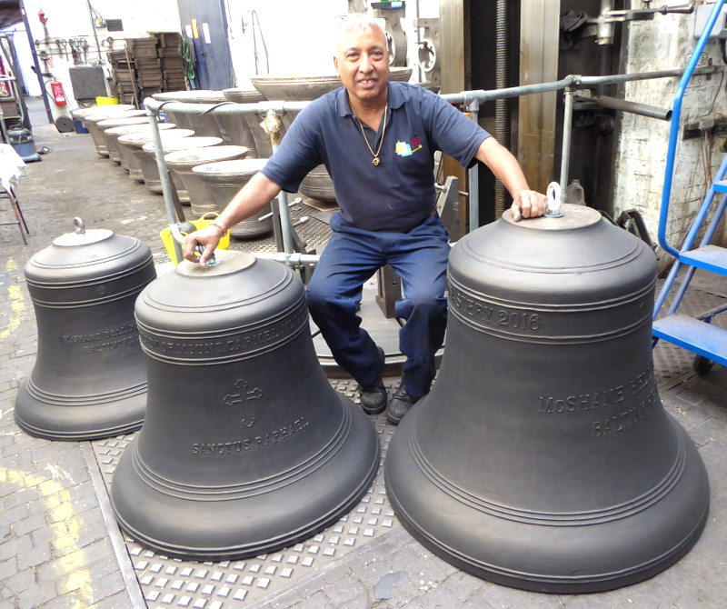 Girdar with the three bells prior to shipping.