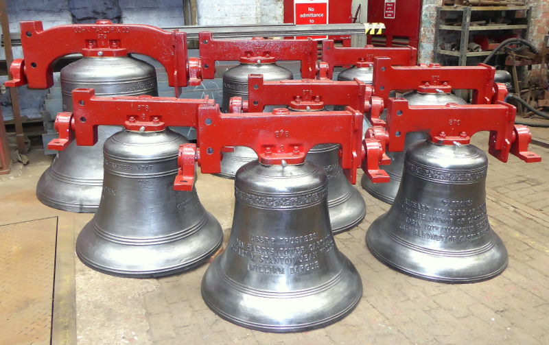 The bells, fitted with new headstocks, ready for dispatch.