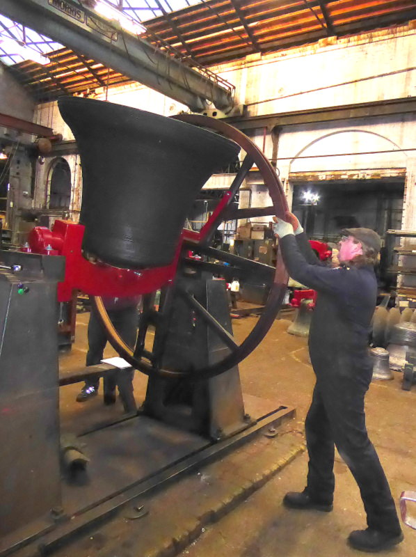 Each of the bells is rung up in the Foundry before dispatch to check clappering speed and accuracy.