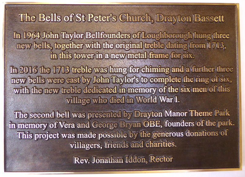 The dedication plaque supplied to complete the project.