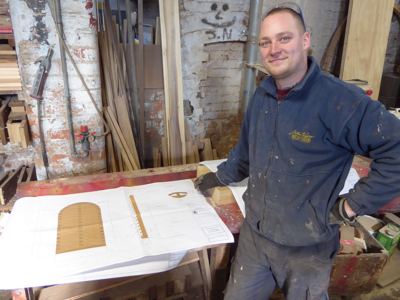 Ross prepares to construct the four new sets of oak louvres for Horringer's belfry.