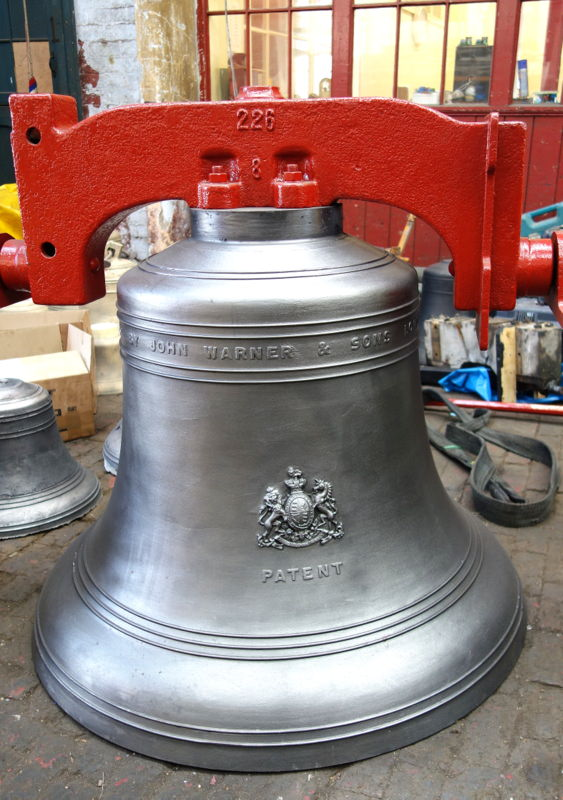 The bell ready for dispatch to India.