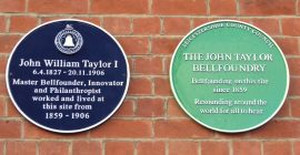 The new Blue Plaque mounted on the tower wall.