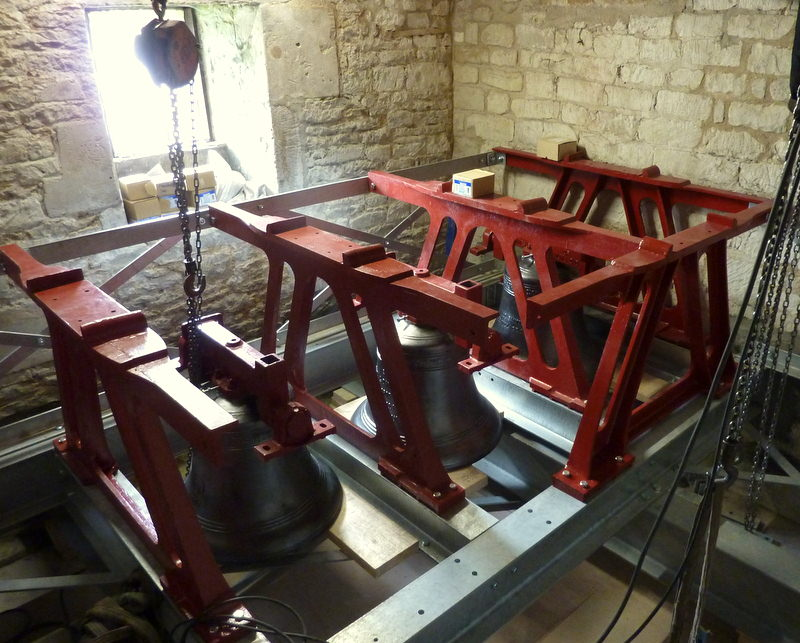 The new bells and frame during construction in the tower.