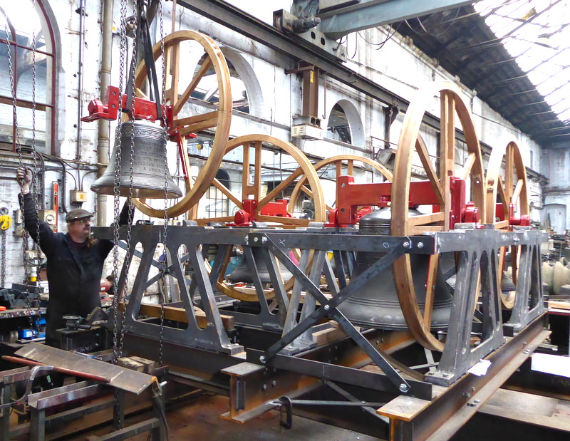 The bells in their frame during construction at Loughborough.