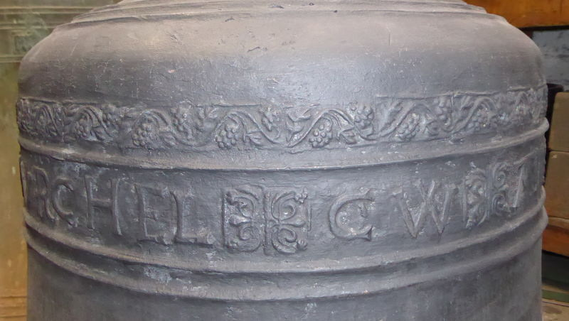 Inscription detail from the 1656 Thomas Purdue 6th bell.