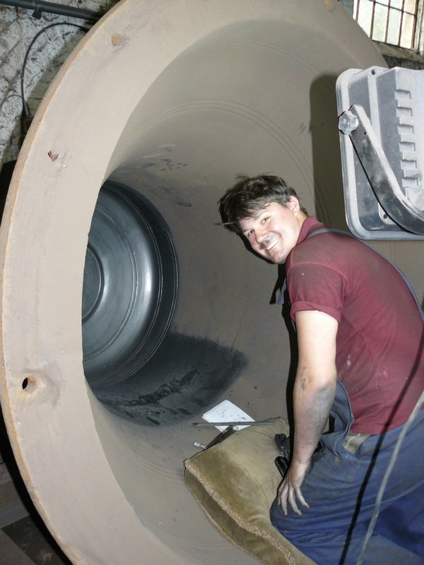 Anthony Stone prepares one of the large bell cases.