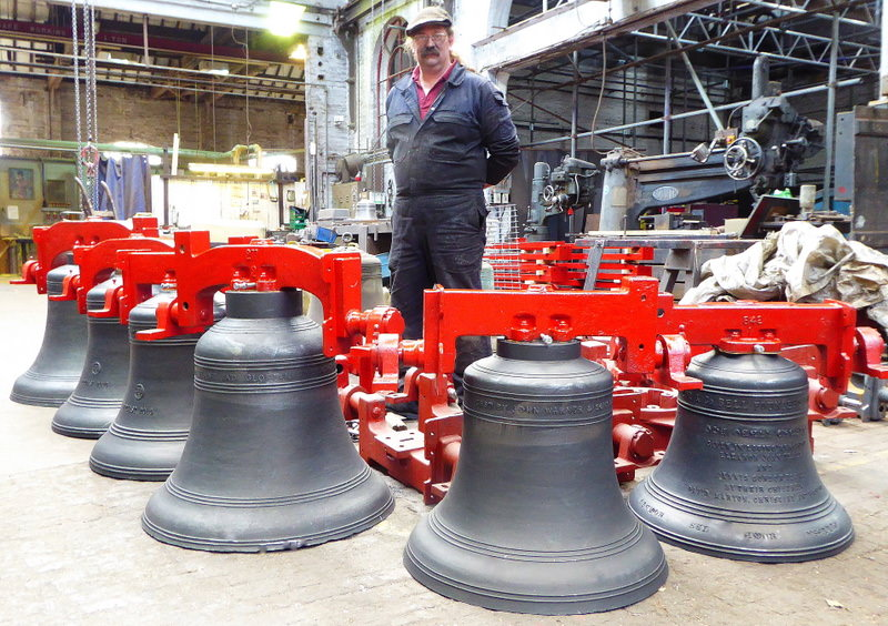 Nassinton bells ready for Bill to apply their final polish before dispatch.