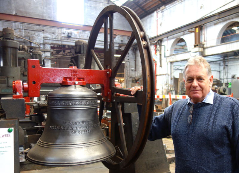 John White with Offton's new 6th on the ringing-up stand.