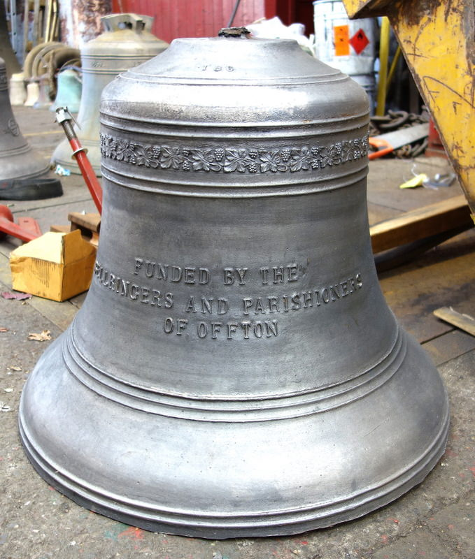 Offton's new 6th bell straight from the Foundry before fettling - another beautiful casting.