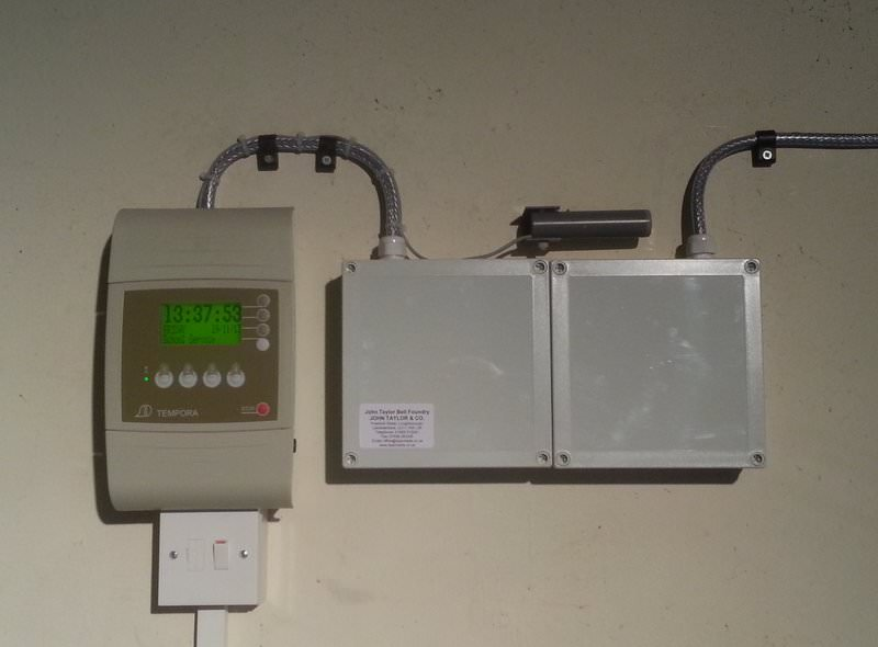 An automatic clock chime.