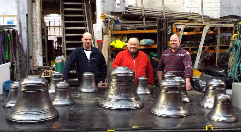 David, Fred & Christopher Pembleton collecting their bells - off to Glapwell.