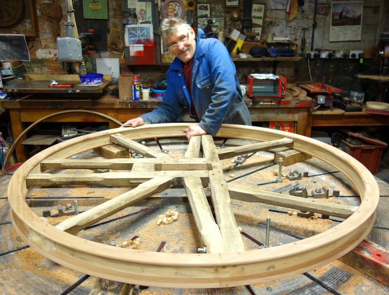Mick completes the restoration of Revelstokes bell wheels.