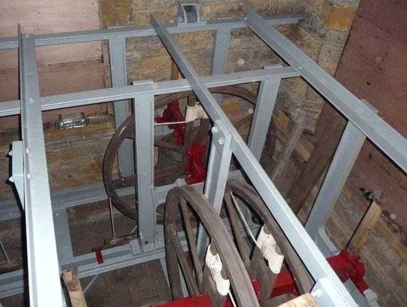 Belfry cleaned and the bell frame and iron bell fittings cleaned and painted - a beautiful job.