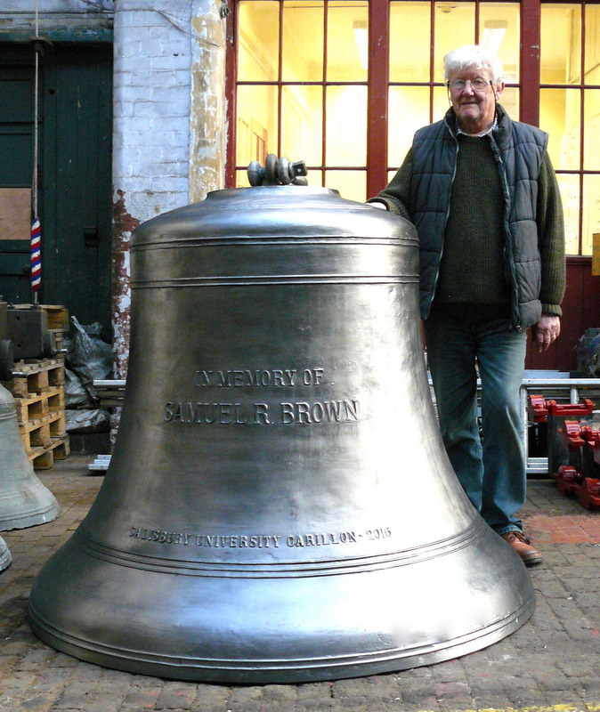 George Dawson with the 2 ton bass bell before shipping.