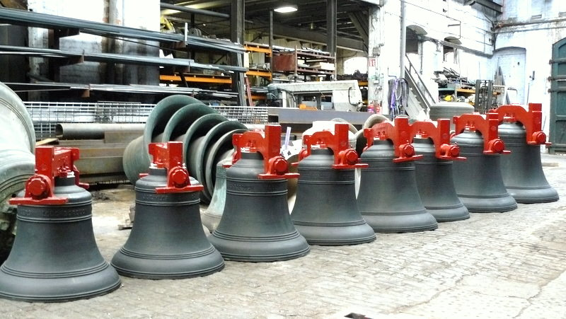 The bells ready for dispatch from Loughborough.