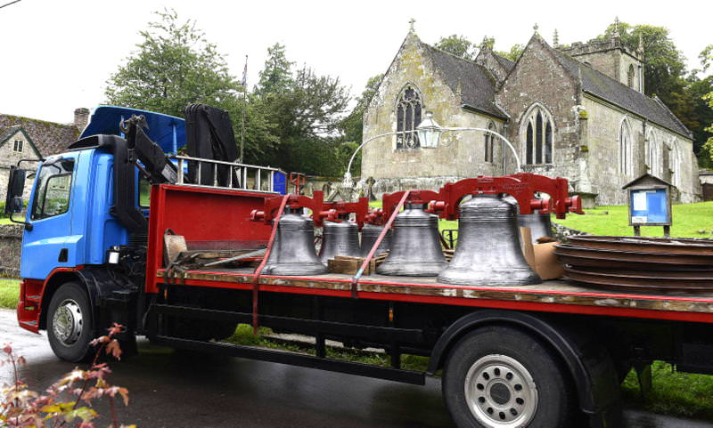 The restored bells arrive at Irwene Courtney.