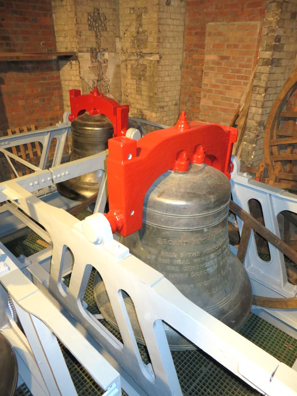 Fittings are stripped from the bells before painting begins.