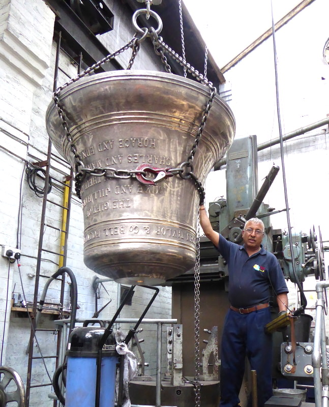 The 8th bell of Taunton's new ring of twelve being lifted off the tuning lathe - a beautiful casting.