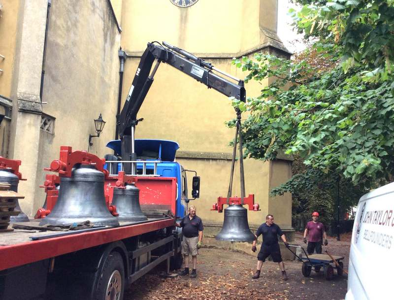 Unloading the restored bells.