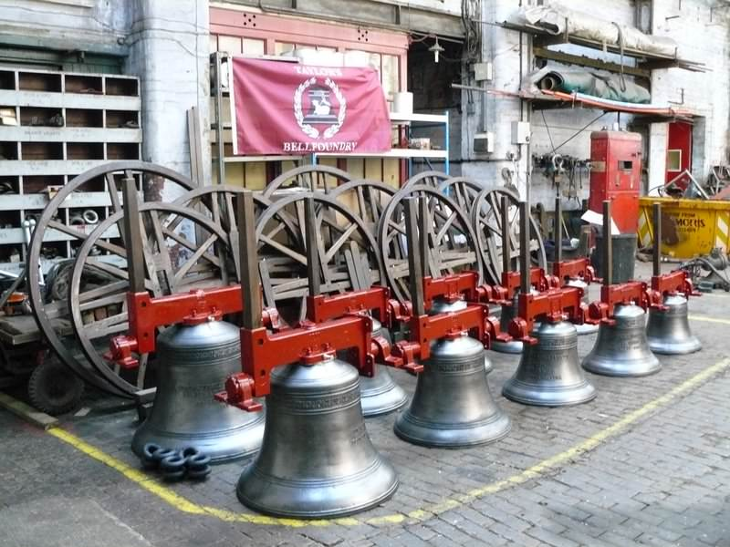 A new ring of ten bells ready for dispatch from Loughborough.
