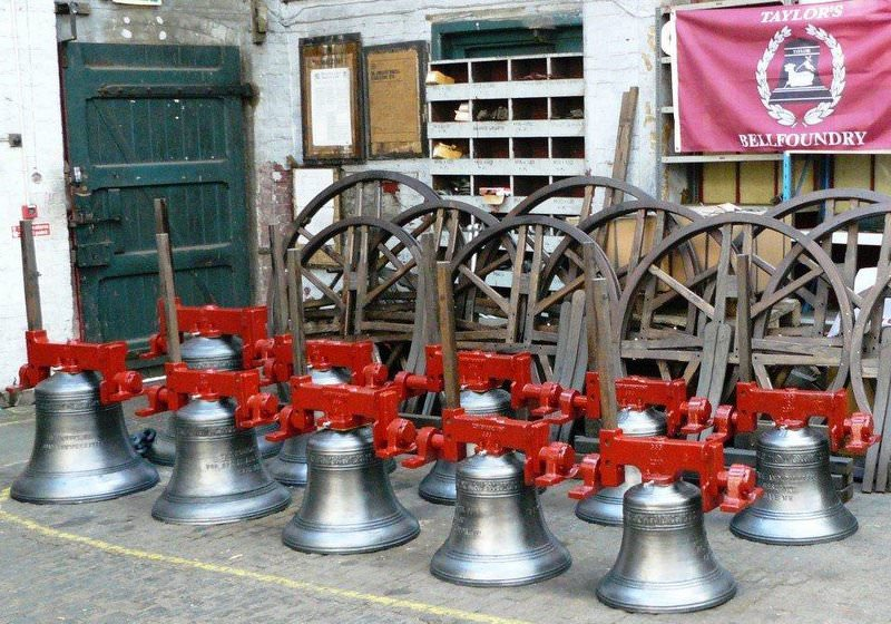 A new ring of ten bells with fittings awaiting dispatch from the Foundry.