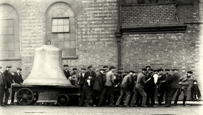 Pulling Yale's 6 ton bass bell along the street in Loughborough.