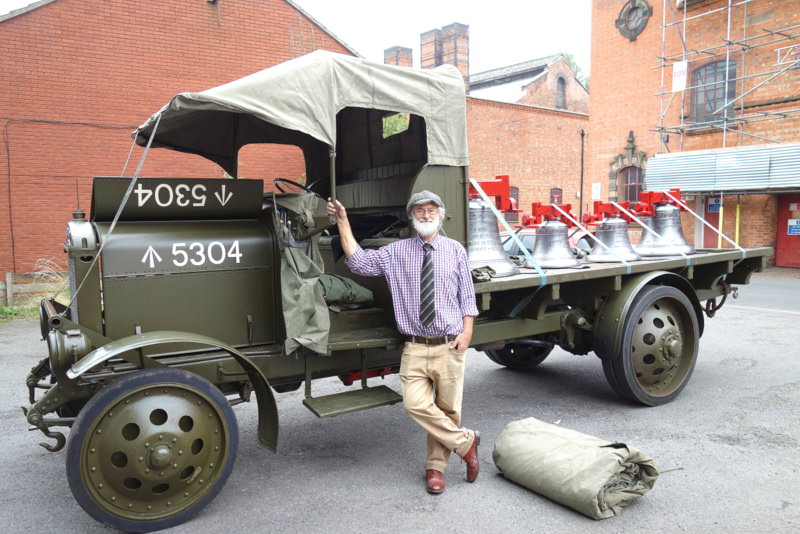 John Marshall with his World War I lorry ready to transport the bells.