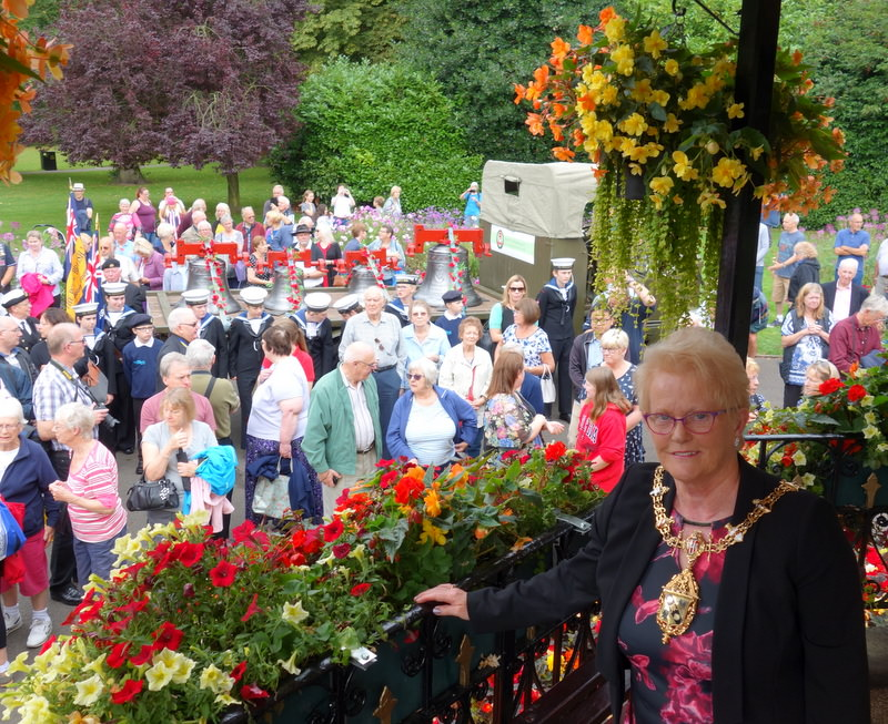 Charnwood Mayor, Pauline Ranson, bids the bells farewell on their journey to Ypres.