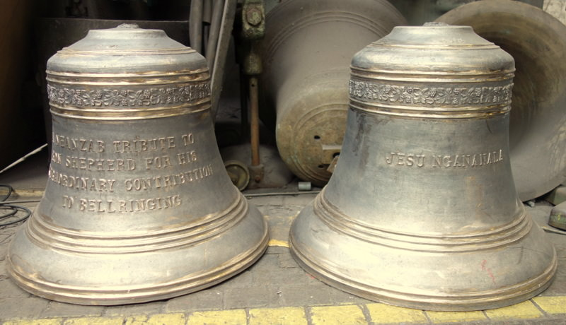 The two bells have been cast and fettled and are ready for dispatch.