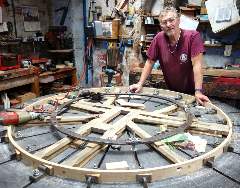 The bell wheels are being restored with new soling and shrouding.