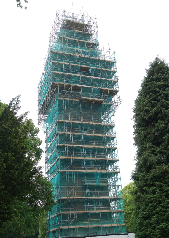 Loughborough's War Memorial Carillon Tower - now in scaffolding as repairs begin.