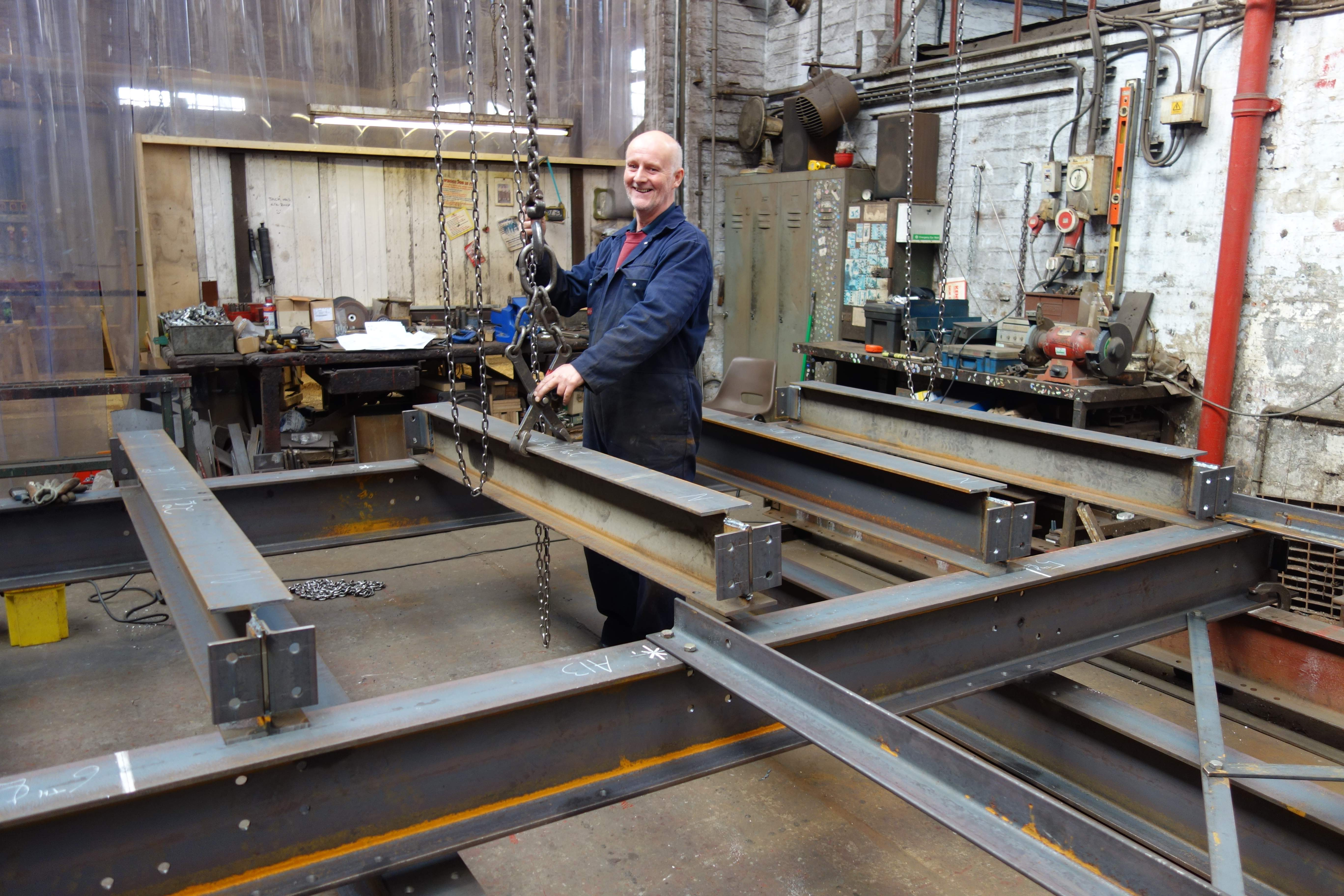 The new bell frame is being manufactured.