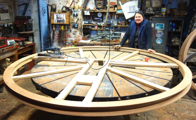 Kart finishes off the new tenor wheel - it's quite some size.