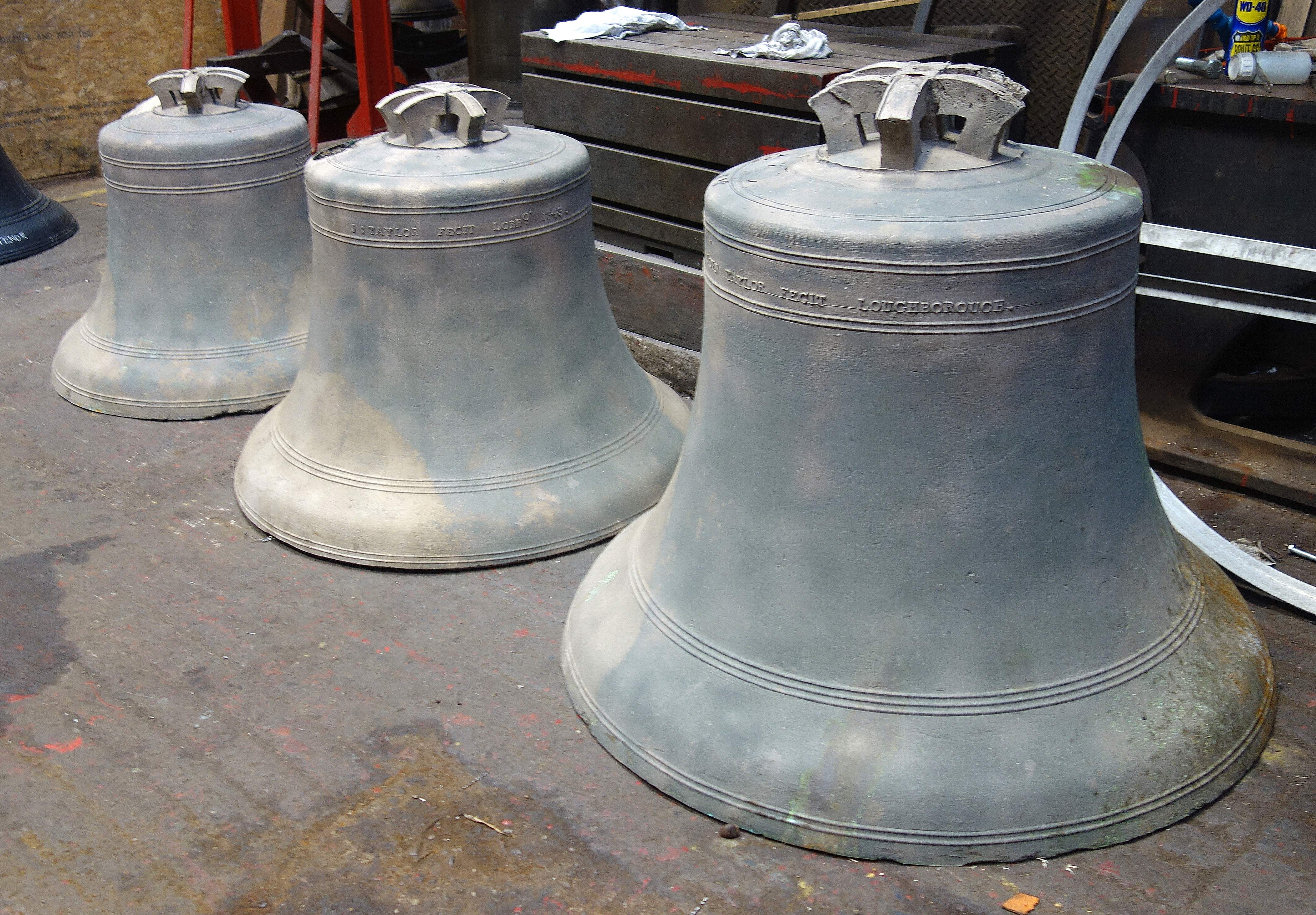 Three of the bells after cleaning.