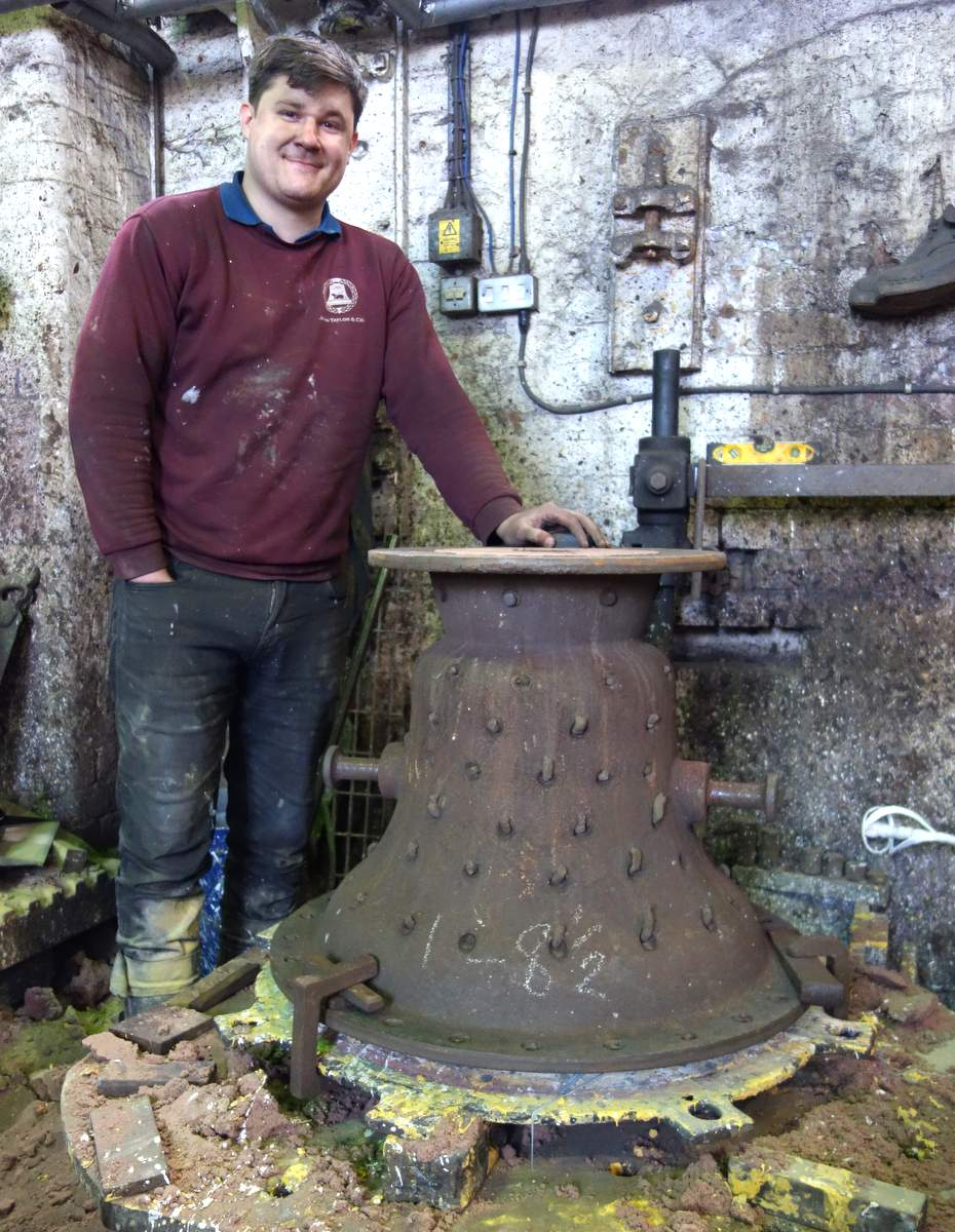Foundryman, Anthony Stone with the bell mould before casting.