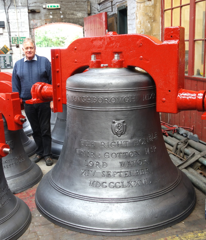 St Paul's Steeple Keeper, John White, with the tenor bell.