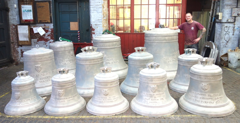 Cleaning has removed the grime of the past 140 years - the bells look new!