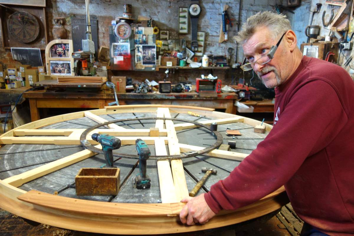 Mick constructs the tenor bell wheel - the last of the new wheels!