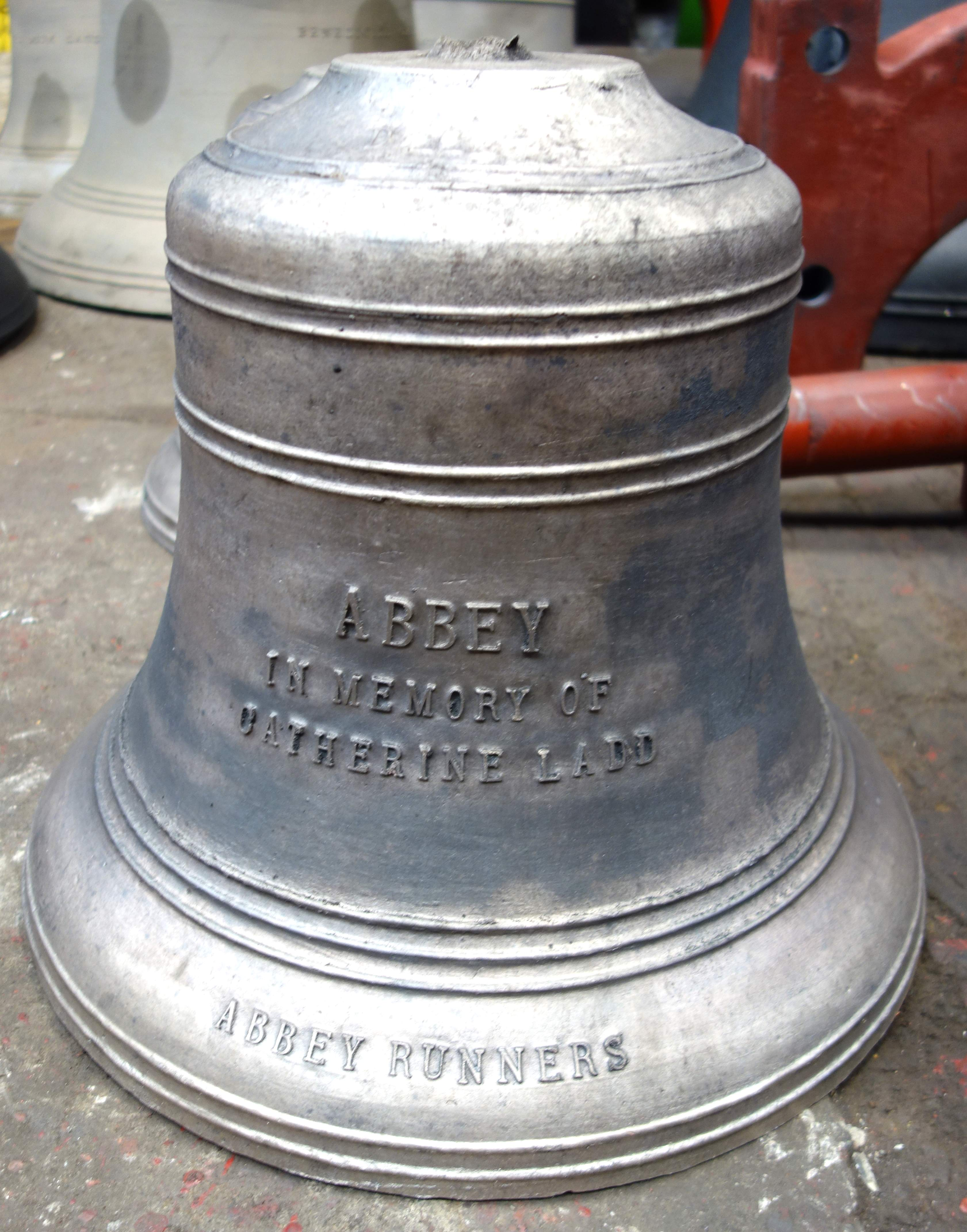 One of the bells remembering Catherine Ladd, Jeff's wife, whose passing inspired the scheme.