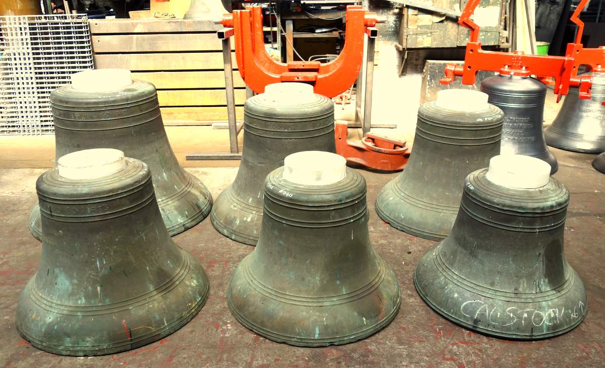 The bells have had new seating pads cast on their crowns.