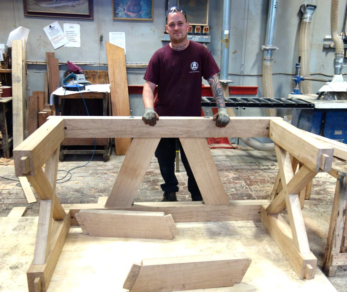 Ross manufactures Shefford's new oak bell frame.